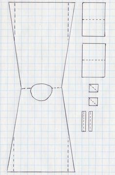 Střih na dlouhou košili z poloviny 18. století, přehnutí naznačeno čárkovaně. Přední, zadní díl i líny jsou střižené dohromady, dále rukávy, klínky do podpaží a manžety. 1750´s shift pattern, fold lines are dashed. Body and side gores are cut together, followed by sleeves, underarm gussets and cuffs.