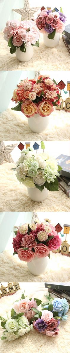 1 Large Bunch (3 Rose+3 Dahlia+4 Carnations) Artificial Roses Silk Flowers For Wedding Decoration Fake Silk Rose Bridal Bouquet