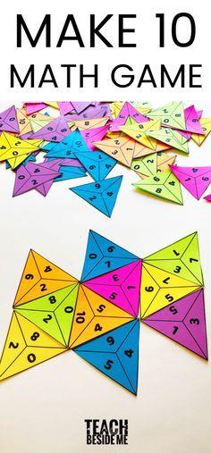 Make Ten - Addition Math GameYou can find Math games and more on our website.Make Ten - Addition Math Game Math Activities For Kids, Fun Math Games, Math For Kids, Grade 2 Math Games, Learning Games For Kids, Kid Games, Spanish Activities, Math Classroom, Kindergarten Math