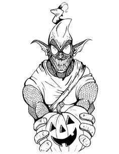 Green Goblin From Spider Man Cartoon Coloring Page