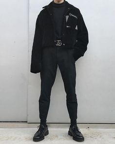 All-black black out Korean aesthetic black clothing outfit soft girl aesthetics ulzzang fashion Men fashion L e l i a L' a r t Korean Fashion Men, Fashion Mode, Grunge Fashion, Look Fashion, Mens Fashion, Fashion Outfits, Jackets Fashion, Ulzzang Fashion, Moda Indie