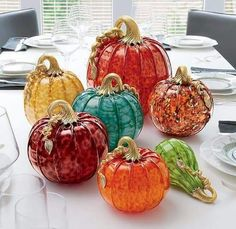 Heirloom Pumpkins by Michael Cohn, Molly Stone: Art Glass Sculpture available at… Glass Pumpkins, Fall Pumpkins, Halloween Pumpkins, Fall Halloween, Thanksgiving Decorations, Halloween Decorations, Fall Decorations, Glass Floats, Pumpkin Art