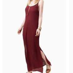 ❣HP❣Meet Your Match Maxi Dress HP Classy & Chic 10.22.15 NWT maroon colored maxi dress from Tobi! So adorable but doesn't fit me right  has slits on both sides, and an attached slip underneath. Very sexy criss cross detailing in back. ❌no trades❌ Tobi Dresses Maxi