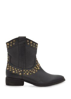 MANGO - Studded leather ankle boots
