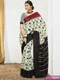 Black Art Silk Printed Border Sobar Saree