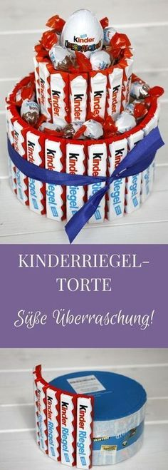 A Kinderriegel cake is a creative gift idea for chocolate lovers. How you can make a children's bar cake, we show you like. Of course, you can stick the candy cake with other sweets. But a Kinderriegeltorte as a gift is actually good at all, right? Creative Birthday Gifts, Diy Birthday, Birthday Presents, Creative Gifts, Birthday Ideas, Birthday Cake, Chocolates, Presents For Kids, Diy Presents