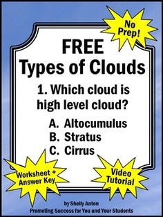 Weather Unit: Here is a free types of clouds worksheet and answer key to go along with a free video.  The video link is in the free download.---------------------------You may also like these weather activities:Weather Activities Mega Bundle----------------------------------Click  HERE  to go back to our store homepage.----------------------------------Customer Tips:Click on the      above  to follow our store.