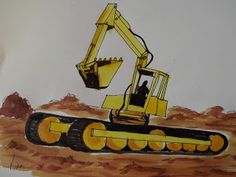 How to draw: An Excavator Drawing Lessons, Easy Drawings, Arts And Crafts, Pretty, Artist, Blog, Drawing Classes, Character Education Lessons, Artists