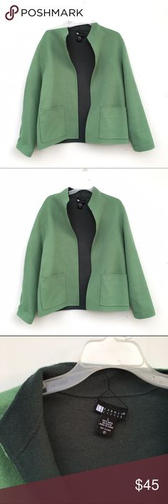 100% Wool Green Coat Adorable green wool coat with pockets. Inside is blue, outside is green. Ends can be curled in rather than rolled out as shown in cover shot. Carole Little Jackets & Coats