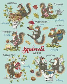 Squirrel Print Squirrel Art Retro Days of the Week Print Squirrel Art, Cute Squirrel, Squirrels, Christmas Squirrel, Tinta Epson, Retro, Studio C, Pumpkin Art, Halloween Prints