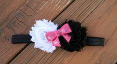 Black  White Shabby Headband with Hot Pink