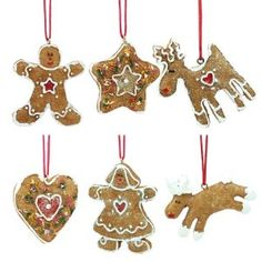 Set of Six Mini Ginger Bread Christmas Tree Decorations: Amazon.co.uk: Kitchen & Home