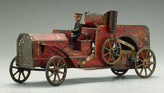 *CLARKE HILL ~ climber fire truck, steering mechanism w/ cast iron driver, flywheel mechanism....