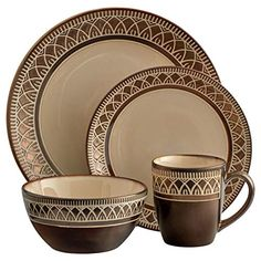 From Gourmet Basics by Mikasa® Collection. Crafted of stoneware. 16 piece dinnerware set, service for four, includes each: 11 inch dinner plate, inch salad plate, 6 inch ounce) soup cereal bowl and 13 ounce mug. Microwave and dishwasher safe Table Setting Design, Kitchenware, Tableware, White Wine Glasses, Crystal Vase, Dinnerware Sets, Flatware Set, Cereal Bowls, Dinner Plates