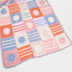 Zara home kids crochet blanket checks and floral
