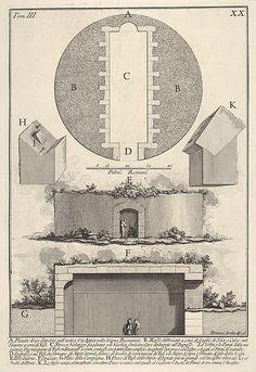 Giovanni Battista Piranesi | Plan of a tomb on the Appian Way in Vigna Buonamici (Pianta di un sepolcro sull'antica Via Appia nella Vigna Buonamici), from the series 'Le Antichità Romane' | The Met