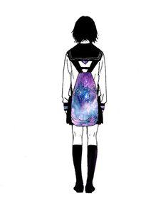 Anime school girl carrying a  galaxy pattern bag~ 979