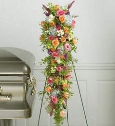 unique funeral flowers | Cascade Standing Spray for Sympathy from Florist in Raleigh, NC ...