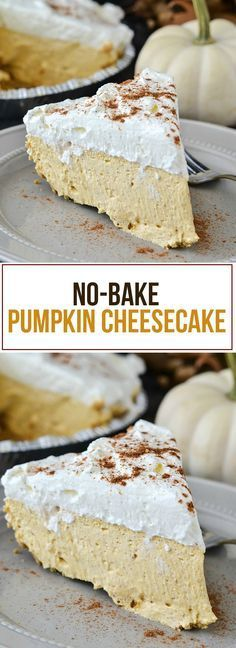 No-Bake Pumpkin Cheesecake - Dessert - Thanksgiving Keto Cheesecake, No Bake Pumpkin Cheesecake, Köstliche Desserts, Delicious Desserts, Dessert Recipes, Yummy Food, Kraft Recipes, Delicious Dishes, Healthy Desserts