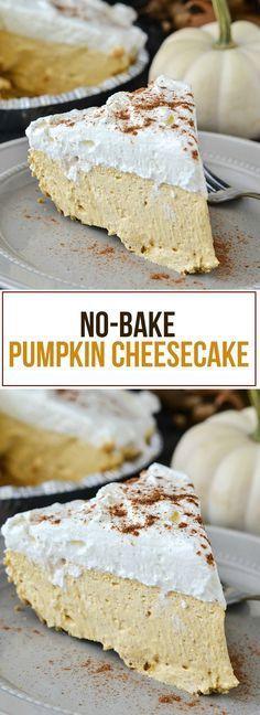 No-Bake Pumpkin Cheesecake - Dessert - Thanksgiving Keto Cheesecake, No Bake Pumpkin Cheesecake, Köstliche Desserts, Delicious Desserts, Dessert Recipes, Kraft Recipes, Delicious Dishes, Healthy Desserts, Baked Pumpkin