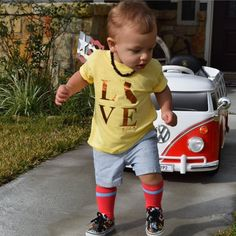 Ummm...can we talk about that awesome VW van?!?  @smashpow is rocking our new CA LOVE toddler tee. #wearallthefayebeline