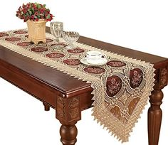 Linens Limited Angelica Tissus Jacquard Noël Table Runner