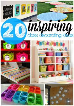 20 inspiring class decoration ideas and projects. Colorful ways to store class supplies, brighten up dark spaces... tons of stuff!