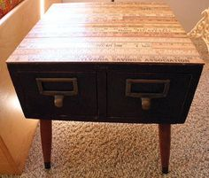 Globe Card Catalog End Table - Vintage Yardstick Top - 2 Drawers - Tapered Mid Century Legs - Original Hardware - Library