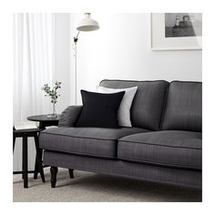 STOCKSUND 3-sits soffa - Nolhaga mörkgrå, svart - IKEA