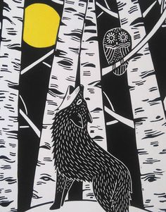 Wolf und Eule Original Linoldruck signiert Open Edition
