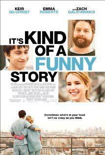 IT'S KIND OF A FUNNY STORY. Een verhaal over leven en het nut van 16-jarige Craig Gilner. Hij kan niet voldoen aan de druk om te presteren en loopt met zelfmoordneigingen rond. Daarom laat hij zichzelf opnemen in een psychiatrisch ziekenhuis, waar hij ingedeeld wordt op de volwassenen afdeling. Daar ontmoet hij verschillende patienten én leert hij zichzelf kennen. Een mooie en integere film, mooi gedraaid, goed geacteerd.  (IMDB 7.1 http://www.imdb.com/title/tt0804497/)