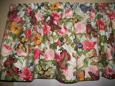 Butterflies Roses Postcard Peonies fabric kitchen curtain topper Valance #Handmade #Handmade
