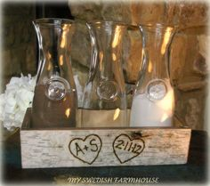 Birch Bark Sand Ceremony or Wine Ceremony Set 3 Bottle Vases in a Crate Personalized Centerpiece