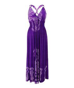 Purple Filigree Cross-Back Maxi Dress - Plus