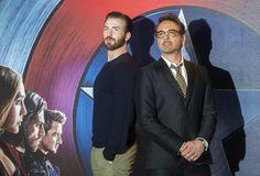 "Chris Evans and Robert Downey Jr. at the ""Captain America: Civil War"" premiere in London, April 26, 2016."