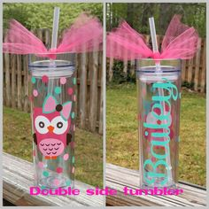 Personalized custom skinny tumbler cup with straw, vinyl owl with name, waterproof weatherproof, choose colors by BluetiqueDesigns on Etsy