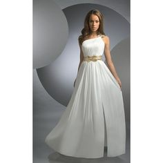 White Grecian One-Shoulder Chiffon Prom Dress - Formals Wear