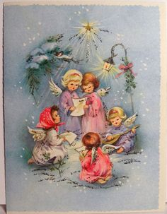 Angel Girls in Song, Vintage Christmas Card-Greeting Vintage Christmas Images, Retro Christmas, Christmas Love, Vintage Holiday, Christmas Pictures, Christmas Angels, Vintage Greeting Cards, Christmas Greeting Cards, Christmas Greetings