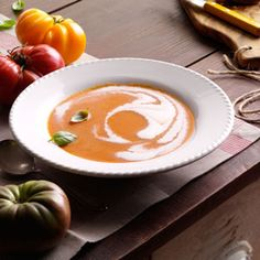 Heirloom Tomato Soup Recipe...made this today but roasted the vegys @275* for 1 hour #heaven in a bowl!!
