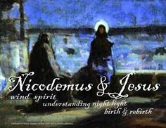 Nicodemus Meets Jesus (image attributed to Henry Ossawa Tanner; poster by John Seib) -- Lent 2A, 3/16/2014, at St. Matthew's Anglican Church.