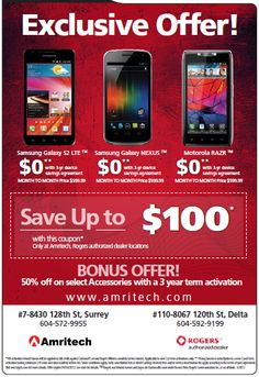 Save up to $100! Galaxy Nexus, Galaxy S2, Samsung Galaxy, Coupons, The 100, Ads, March, Coupon, Mars