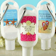 Personalized Sunscreen with Carabiner - As Low As $2.95 Wedding Games, Destination Wedding Favors, Gold Wedding Favors, Wedding Favor Tags, Wedding Welcome Bags, Homemade Wedding Favors, Beach Party Favors, Bridal Shower Favors, Sunscreen