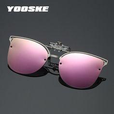 6d159cf559 YOOSKE Luxury Polarized Clip On Sunglasses Women Driving Night Vision Lens  Cat Eye Sun Glasses Ladies