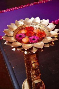 Antique Gold Aisle Pillars | Lotus Design Bowls | Floating Candles | Gerber Daisies | Orange | Pink #indianwedding #mandap #decor #aisle