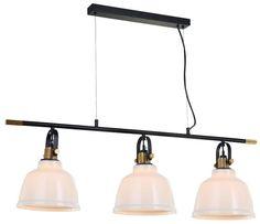 Lámpara colgante de techo con tres pantallas de cristal blanco