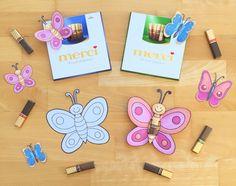 Muttertagsgeschenk basteln in der Grundschule: Merci Schmetterlinge