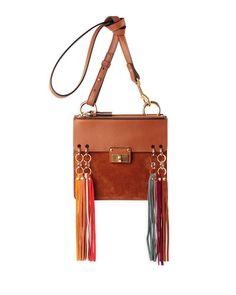 V2VFF Chloe Jane Tassel-Trim Leather Crossbody Bag b63f2a9b9472c