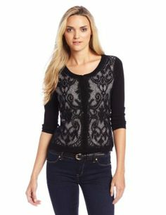 Evolution by Cyrus Women's 3/4 Sleeve Lace Front Cardigan