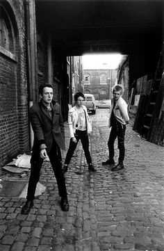 The Clash, April 1977. Mick is missing...saw this their first tour in boston in 1977 at the harvard square theater ..met after show too very cool guys and joe strummer was such a nice guy,talked with him for about 10 minutes.