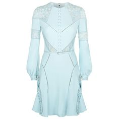 Elie Saab Lace Panel Skater Dress (11.535 BRL) ❤ liked on Polyvore featuring dresses, skater dress, crochet dress, blue dress, lace insert dress and button dress